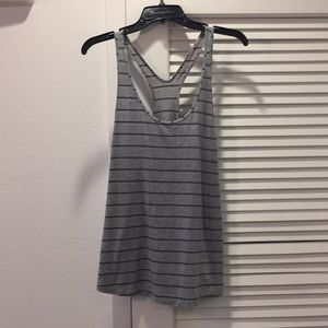 Lululemon striped tank Grey and navy sz8